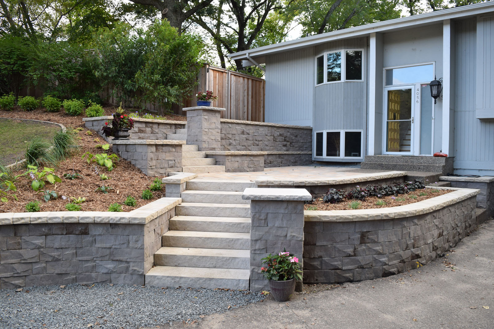 Minnetonka Front Entry Block Walls and Steps